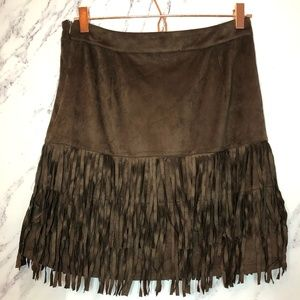 NWT Forcynthia brown suede western fringe skirt